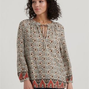 Lucky Brand peasant style top with tie front